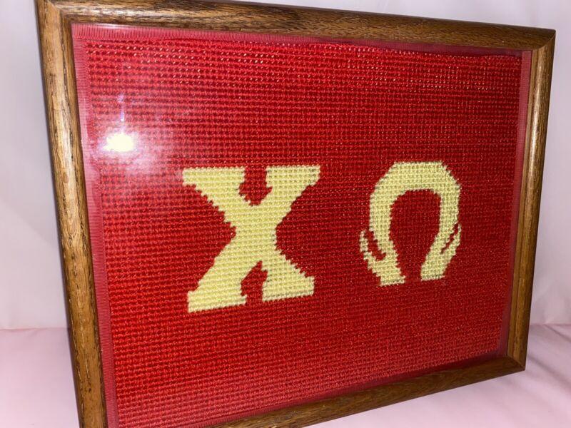 Rare Chi Omega Needlepoint Wooden Framed Art Fraternity Sorority
