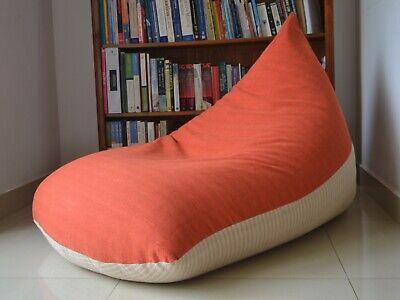 Large BEAN BAG Cover, Coral/Orange/Pink/Cream, 100% COTTON Handloom, very comfy Cotton Comfy Bean Bag