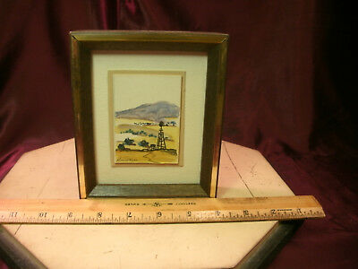 Orig. mini. Water Color-Landscape Mountain foothill/windmill-S/Evaline Webb-F/Sh