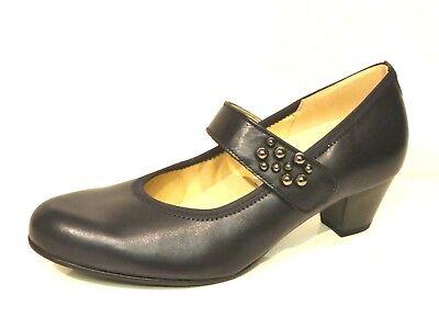 Navy Leder Mary Jane (Gabor Schuhe Pumps High Heels blau navy elegant Leder Einlagen Weit)