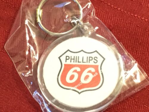 Phillips 66 Key Ring Keychain FOB Silver Hardware White/Clear Key Chain