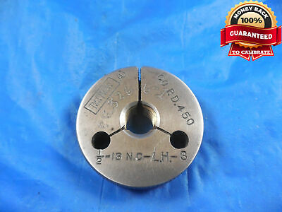 12 13 Nc 3 Left Hand Thread Ring Gage .5 Go Only P.d. .4500 L.h. Lh Quality