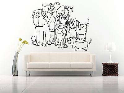 Wall Room Decor Art Vinyl Sticker Mural Decal Types Of Dog Breeds Animal FI117