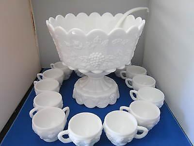 Westmoreland Milk Glass Paneled Grape Punch Bowl Set - 17 Pieces