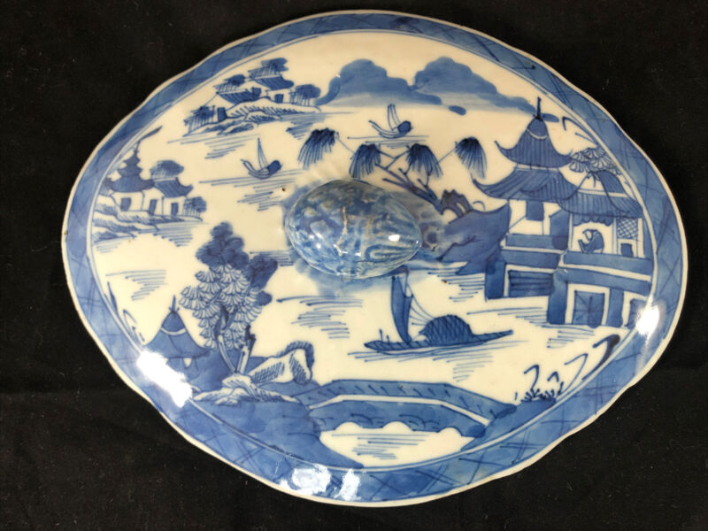 """Antique Chinese Export Blue White Canton 8"""" Porcelain Diamond Shaped Lid Only"""