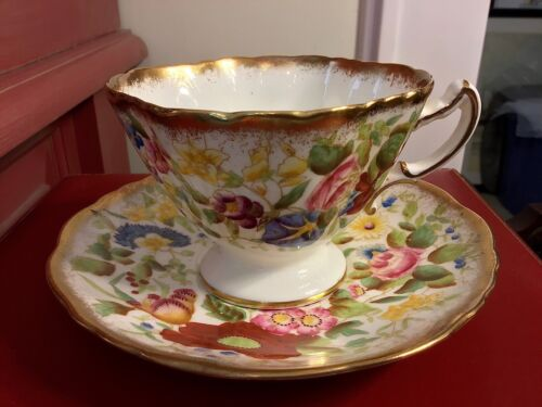 Hammersley Queen Anne Handpainted Cup & Saucer / England