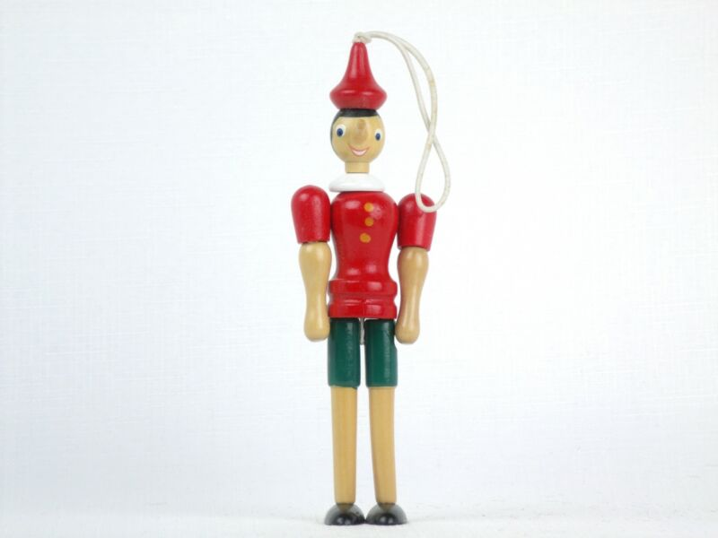 Vintage Wood PINOCCHIO ORNAMENT Jointed Poseable