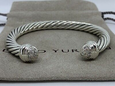 David Yurman Sterling Silver Diamond Tip 7mm Bracelet