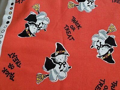 Vintage Halloween Material (Vintage Kitten Witch Halloween Trick or Treat sweatshirt fabric 1/2)