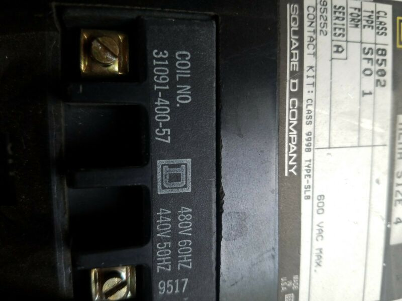 SQUARE D starter 8502 SF01  SIZE 4 CONTACTOR 440-480v coil free shipping