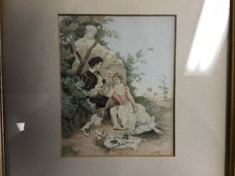 19th C Hand colored print of Lovers Illustration by Oreste Cortazzo no reserve