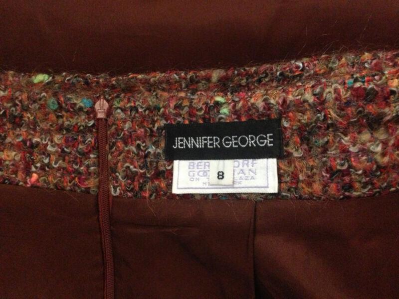 Vtg BERGDORF GOODMAN Jennifer George Mohair Nubby Tweed Straight Skirt Hi Waist