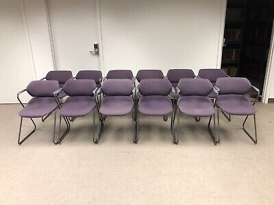 Vintage Acton Stacker Mid Century Modern Chrome Purple Stackable Chair Set Of 12