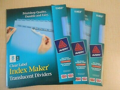 Lot Of 3 Sets Of Avery Index Maker Translucent Dividers 8 Tabs Per Set 11453