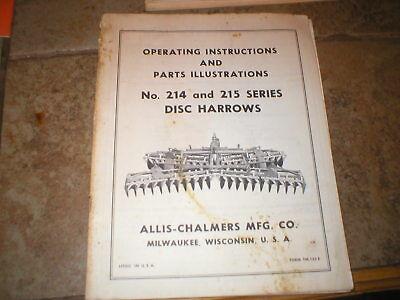 Allis Chalmers 214 215 Disc Harrow Operators Manual Parts Catalog
