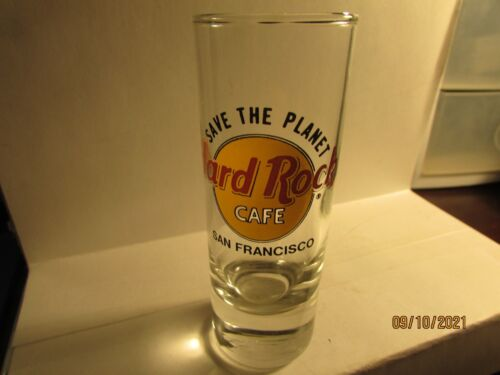"""Hard Rock Cafe SAN FRANCISCO CA Save The Planet 4"""" Double Shooter Shot Glass-new"""