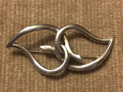 Vintage 1987 Tiffany & Company Sterling Silver 925 Double Heart Brooch Pin