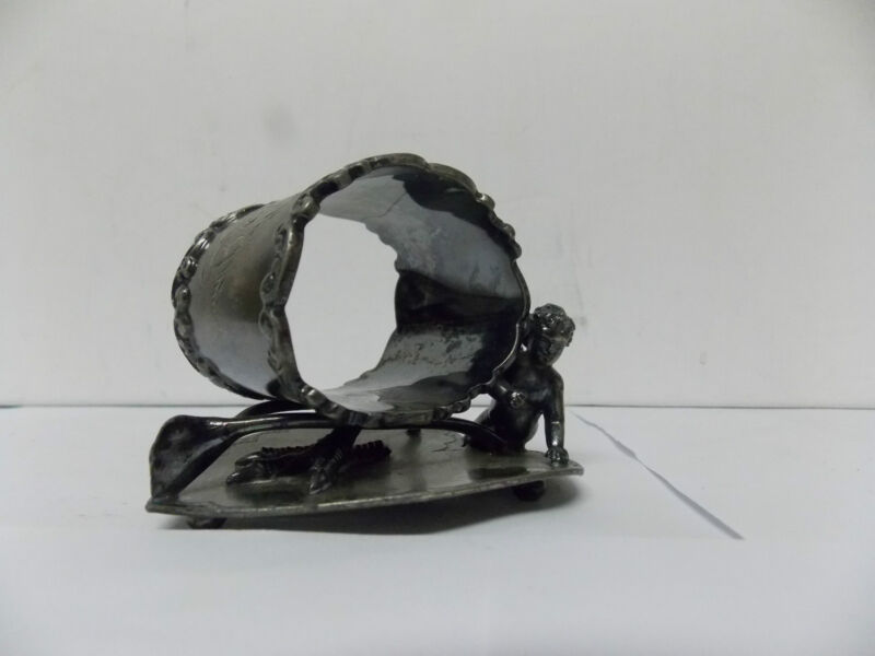 Victorian Wilcox Silver Co. Meriden Ct. Napkin Ring Cupid, Wishbone, Heart