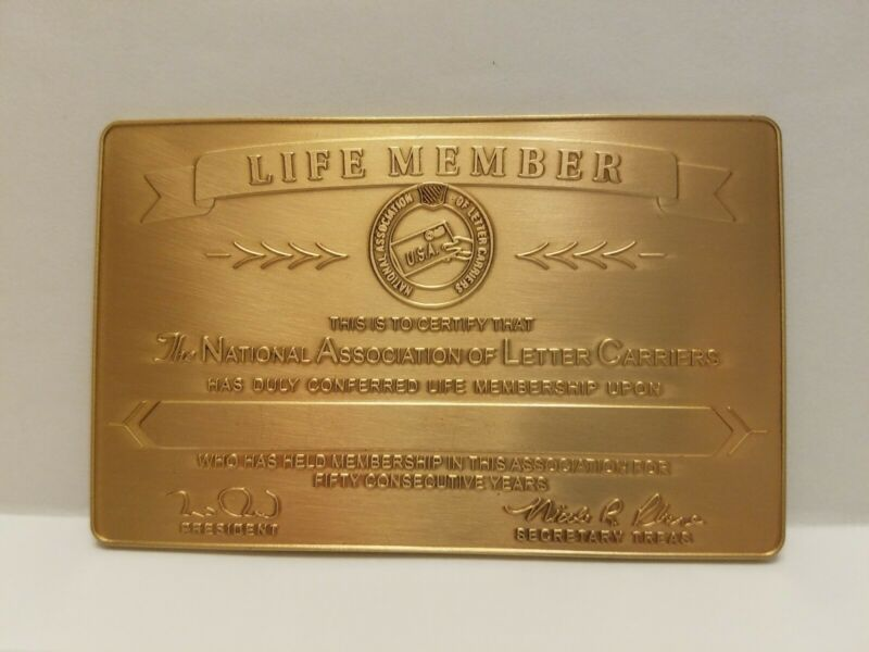 National Association Of Letter Carriers USA 50 Years Service Brass Card - Unused