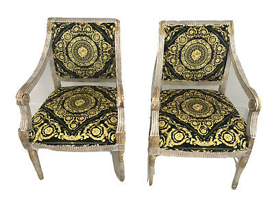 Pair Of Vintage J Scott Chairs With Versace Baroque Upholstery One Of Kind 17k