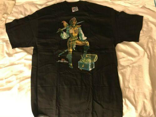 "Rare 1994 T-Shirt Clyde Caldwell Art ""Treasure Chest"" Semi-Nude Pirate! Size L N"