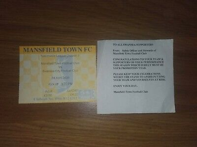 MANSFIELD TOWN V SWANSEA CITY 24TH APRIL 2000 USED TICKET SWANS CHAMPIONS