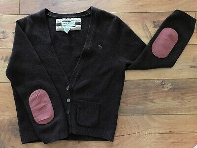 Vintage Abercrombie & Fitch Large Brown Wool Crop Cardigan W/ Elbow Patches