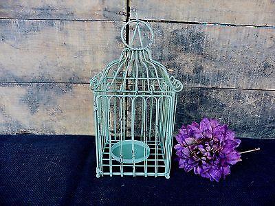 Rustic Aqua Green Square Bird Cage Lantern Candle Holder Wedding Centerpiece