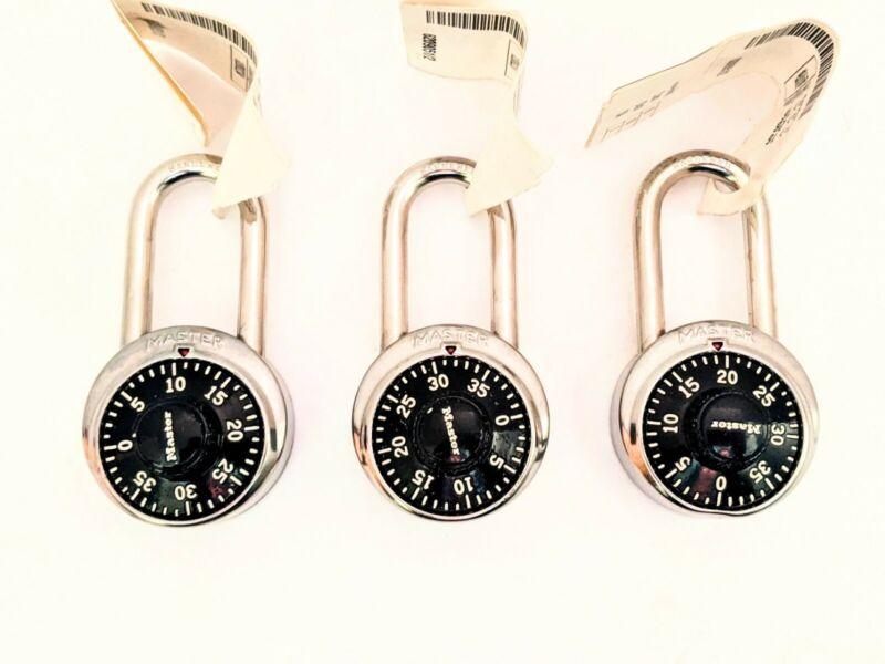 MASTER LOCK 1525LF Combination Padlock for Locker, Set of 3, Black Dial
