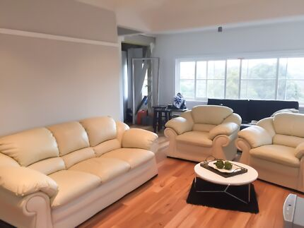 3 seater cream leather couch plus 2 matching arm chairs $300 Neg Cremorne North Sydney Area Preview