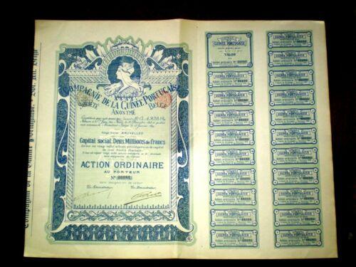 Compagnie de la Guinée Portugaise,Brussels 1899 ,art nouveau, share certificate.