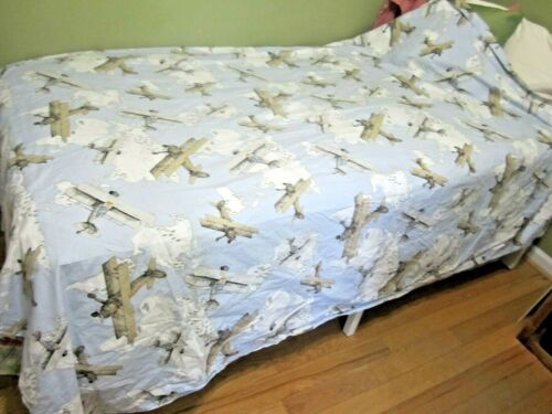 Pottery Barn Kids Twin Sized Duvet Cover Vintage Planes Biplanes