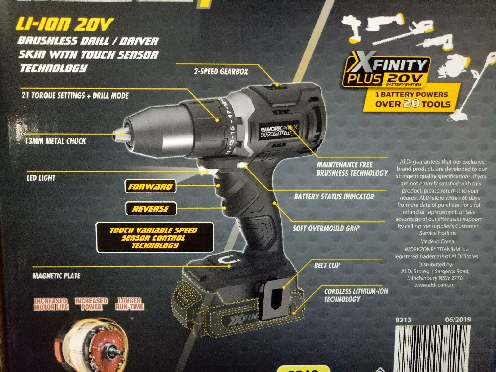 NEW BRUSHLESS WORKZONE XFINITY 20V CORDLESS DRILL SKIN DRIVE