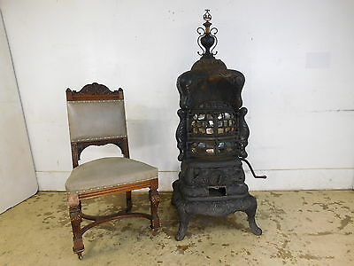"60"" T Antique Victorian Cast Iron Parlor Coal Stove Mica Windows Stewart Fuller"