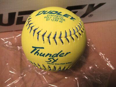 Dudley Thunder Yellow Softball 1 Dozen Balls NIB 4U 541Y Sy USSSA Free USA Ship