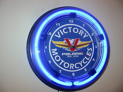 Victory Motorcycle Garage Advertising Man Cave Blue Neon Wall Clock Sign