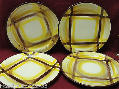 SET of FOUR (4) - VERNON KILNS CHINA - ORGANDIE PLAID Pattern - DINNER PLATES