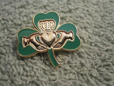 Ireland Shamrock Claddagh Brooch Pin Irish Celtic True Irish Green Badge  - Shamrock Pin