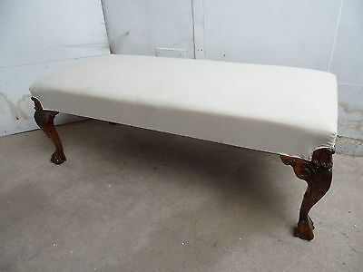A Top Quality Georgian Style Golden Oak Ball&Claw Foot Stool/Bench to Upholster
