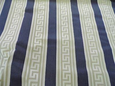 Fabric Robert Allen Beacon Hill Pierre Stripe Navy Taupe Keys Drapery *J190 Robert Allen Drapery Fabric