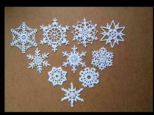 Set of 10 Crochet  Snowflakes, Christmas Ornaments, Window Decor