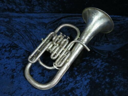 C.G. Conn 3 Valve Silver Bell Up Eb Alto Horn Ser#117041 Cool Vintage Horn!