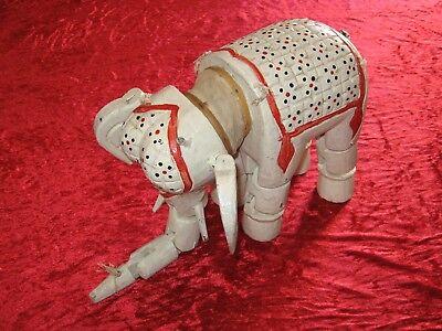Interessante, alte Elefanten Holz-Marionette (21,5 cm hoch) - zur Überarbeitung