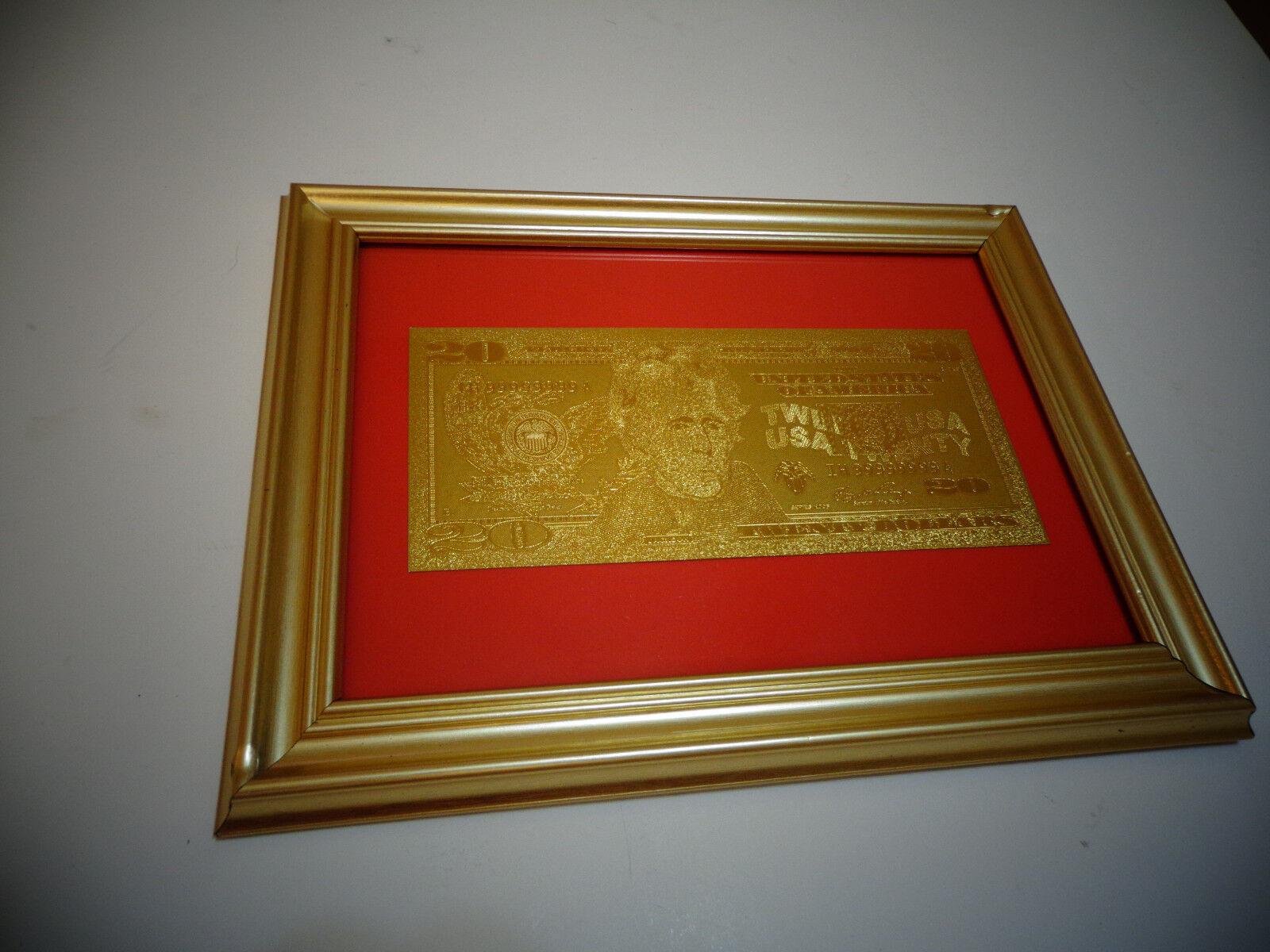 24 karat 99.9% gold usa *2009 *$20 dollar bill -framed- limited production, rare