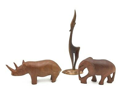 BUNDLE OF VINTAGE HAND CARVED WOODEN AFRICAN ANIMAL FIGURINE ORNAMENTS # T88