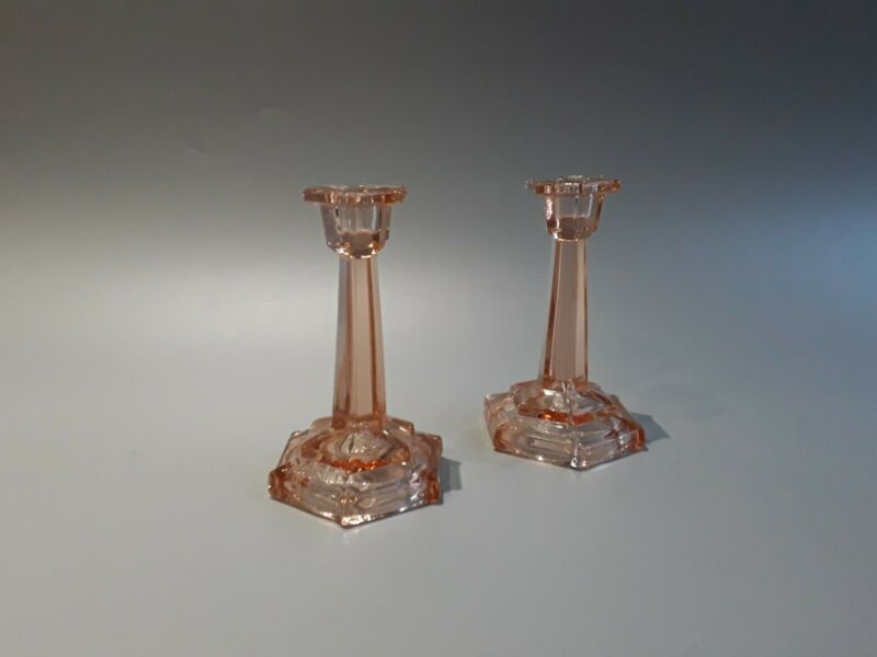 Art deco bagley pink candlesticks vgc see description.