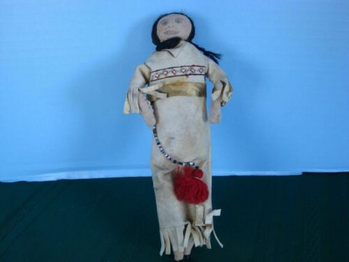 Native American Indian Cloth Doll leather