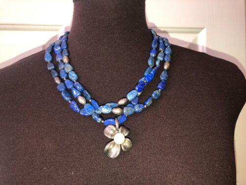 vtg Ann King sterling silver flower & pearl pendant on Lapis & silver necklace