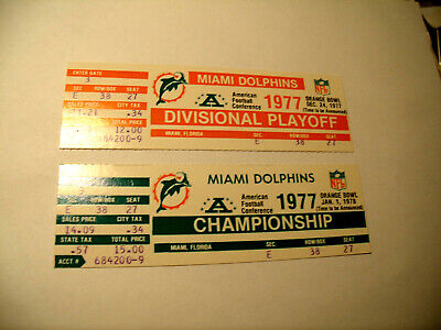 Miami Dolphins 1977 Division Playoff/Championship Phantom Ticket Stub Lot of 2