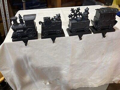 Set of 4 TRAIN 3D STOCKING Holder Hangers Dark Bronze Tone
